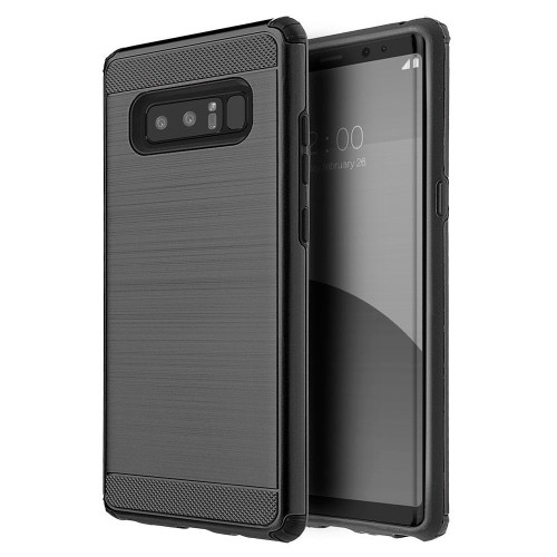 Insten Silkee Armor Hard Hybrid Brushed TPU Case For Samsung Galaxy Note 8 - Black
