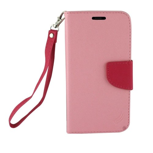 Insten Folio Leather Fabric Case Lanyard w/stand/card holder For Samsung Galaxy Note 8, Pink