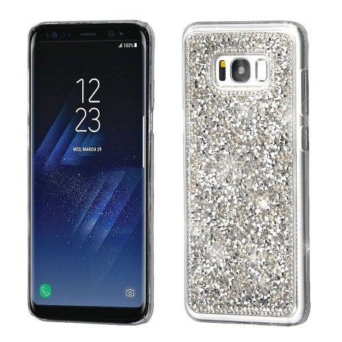 Insten Hard Crystal Cover Case w/Diamond For Samsung Galaxy S8 Plus - Silver