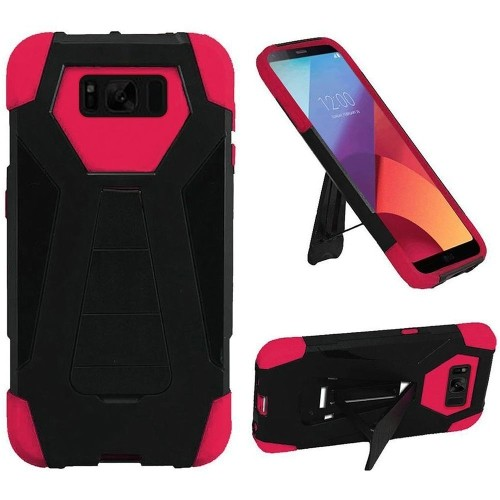 Insten Hard Dual Layer Plastic TPU Case For Samsung Galaxy S8 Active - Black/Hot Pink