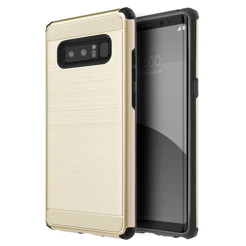 Insten Silkee Armor Hard Hybrid Brushed TPU Case For Samsung Galaxy Note 8 - Gold/Black