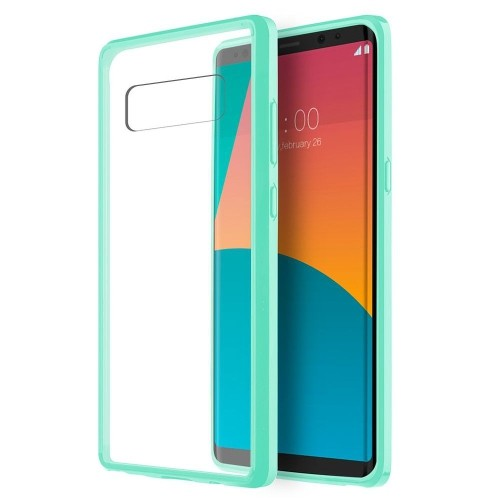 Insten Fusion Candy Acrylic Plastic TPU Case For Samsung Galaxy Note 8 - Clear/Teal