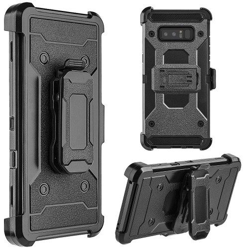 Insten Hard Dual Layer Plastic TPU Cover Case w/stand/Holster For Samsung Galaxy Note 8 - Black