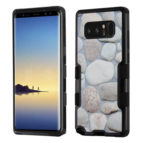 Insten Tuff Rocky Pebbles Hard Dual Layer Plastic TPU Case For Samsung Galaxy Note 8 - Gray/Black