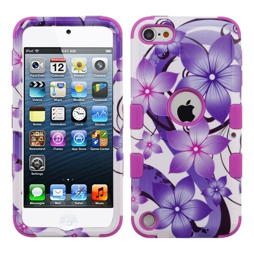 Insten Hibiscus Flower Romance Hard Plastic TPU Cover Case For iPod Touch 5th Gen/6th Gen, Purple