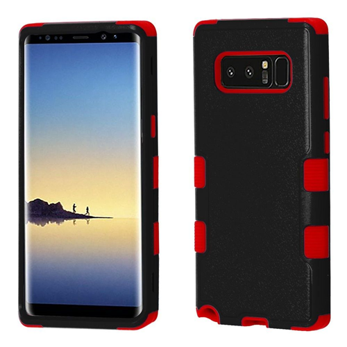 Insten Tuff Hard Dual Layer Plastic TPU Cover Case For Samsung Galaxy Note 8 - Black/Red