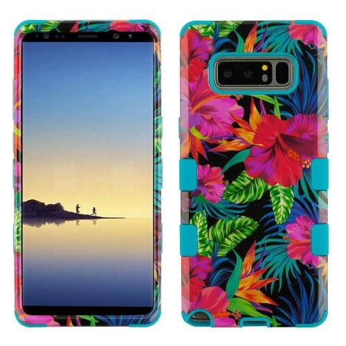 Insten Electric Hibiscus Hard Dual Layer Plastic TPU Case For Samsung Galaxy Note 8, Multi-Color