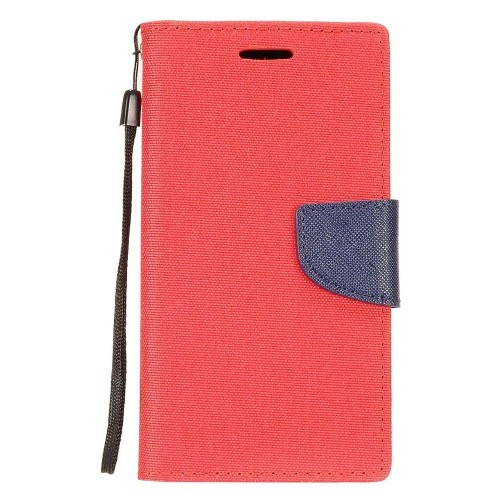 Insten Denim Fabric Case Lanyard w/stand/card holder For Samsung Galaxy Note 8, Red/Blue