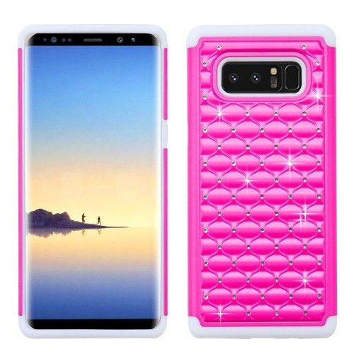 Insten Hard Hybrid Diamante TPU Cover Case For Samsung Galaxy Note 8 - Hot Pink/White