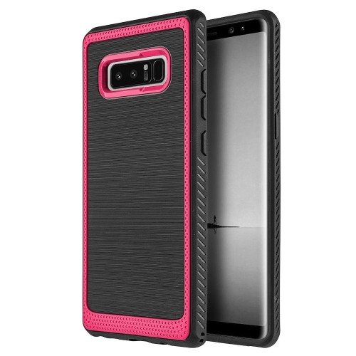 Insten Hard Dual Layer Brushed TPU Case For Samsung Galaxy Note 8 - Black/Red