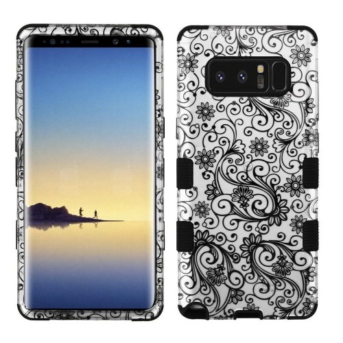 Insten Tuff Four-leaf Clover Hard Hybrid Plastic TPU Case For Samsung Galaxy Note 8 - Clear/Black