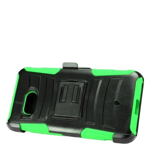 Insten Advanced Armor Hard Hybrid Plastic Silicone Cover Case w/Holster For HTC U11 - Black/Green