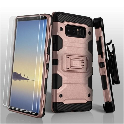 Insten Storm Tank Hard Hybrid TPU Case w/stand/Holster For Samsung Galaxy Note 8, Rose Gold/Black