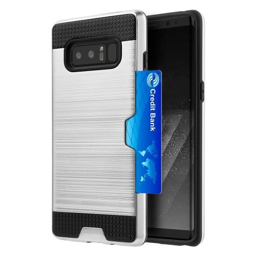 Insten Card To Go Hard Hybrid Brushed TPU Case w/card holder For Samsung Galaxy Note 8, Silver/Black