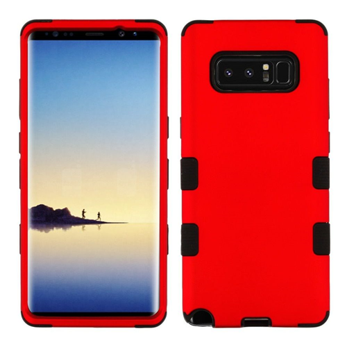 Insten Tuff Hard Hybrid Metallic TPU Cover Case For Samsung Galaxy Note 8 - Red/Black