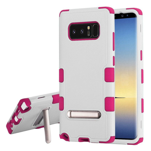Insten Tuff Hard Hybrid Plastic TPU Case w/stand For Samsung Galaxy Note 8 - White/Hot Pink