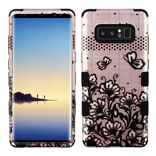 Insten Tuff Lace Flower Hard Dual Layer Plastic TPU Case For Samsung Galaxy Note 8 - Rose Gold/Black