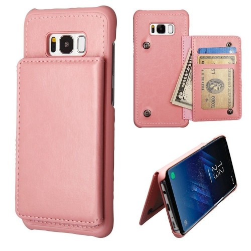 Insten Protector Leather Fabric TPU Case Wallet w/stand/card holder For Samsung Galaxy S8 Plus, Pink