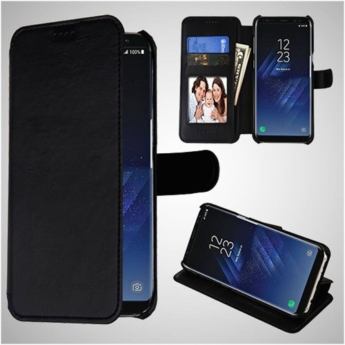 Insten Folio Leather Fabric Cover Case w/card slot/Photo Display For Samsung Galaxy S8 - Black