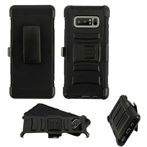 Insten Advanced Armor Hard Plastic TPU Cover Case w/stand/Holster For Samsung Galaxy Note 8, Black