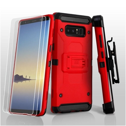 Insten Hard Plastic TPU Cover Case w/stand/Holster/Bundled For Samsung Galaxy Note 8, Red/Black