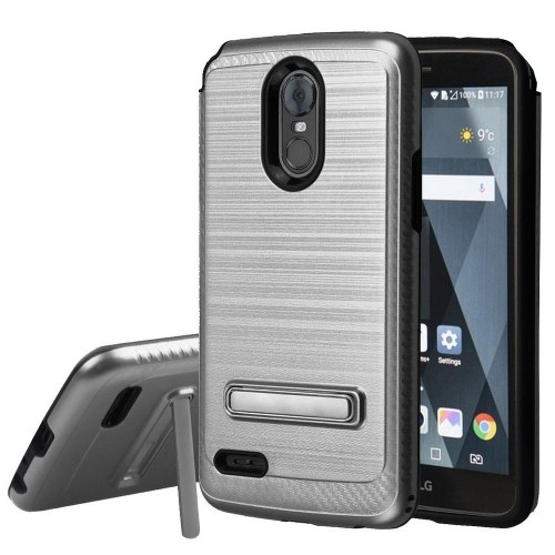 Insten Carbon Fiber Accent Hard Brushed TPU Case w/stand For LG Stylo 3/Stylo 3 Plus, Silver/Black