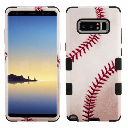 Insten Tuff Baseball Hard Dual Layer Plastic TPU Cover Case For Samsung Galaxy Note 8 - White/Red