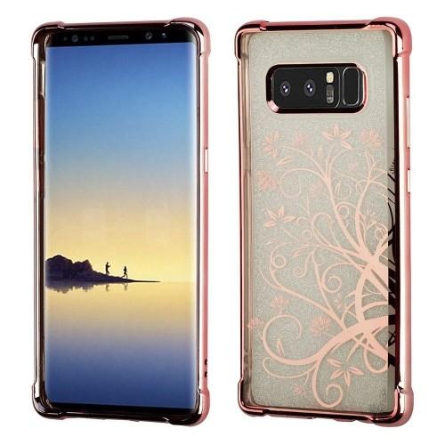 Insten Maple Vine Gel Case For Samsung Galaxy Note 8 - Clear/Rose Gold