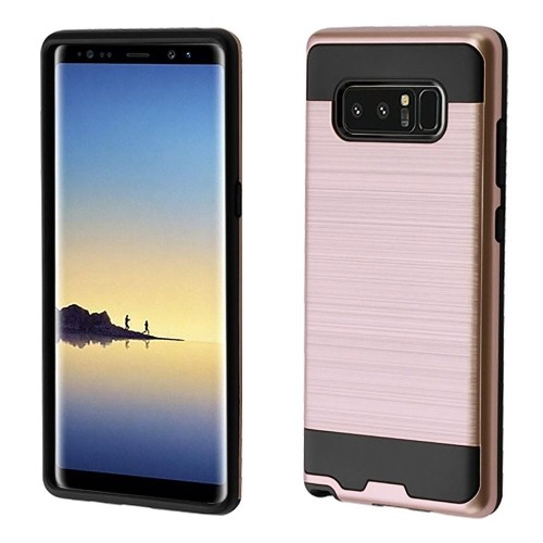 Insten Hard Hybrid Brushed TPU Cover Case For Samsung Galaxy Note 8 - Rose Gold/Black
