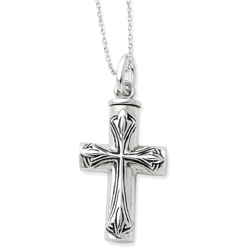 99db9ab69fe442 IceCarats 925 Sterling Silver Cross Religious Ash Holder 18 Inch Chain Necklace  Crucifix Inspirational
