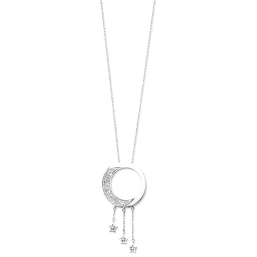 Jewelry Necklaces Necklace with Pendants Sterling Silver and CZ I Promise You the Moon and Stars 18in Necklace