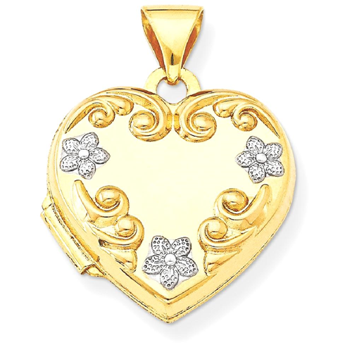 699a83f289 IceCarats 14k Yellow Gold Heart Locket Flowers : Necklaces - Best ...