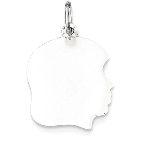 14k White Gold Plain Medium Facing Right Engravable Girl Charm
