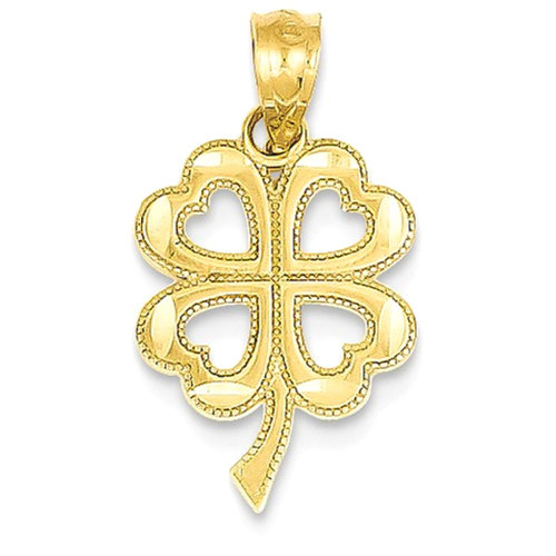 Icecarats 14k Yellow Gold Four Leaf Clover Pendant Charm Necklace
