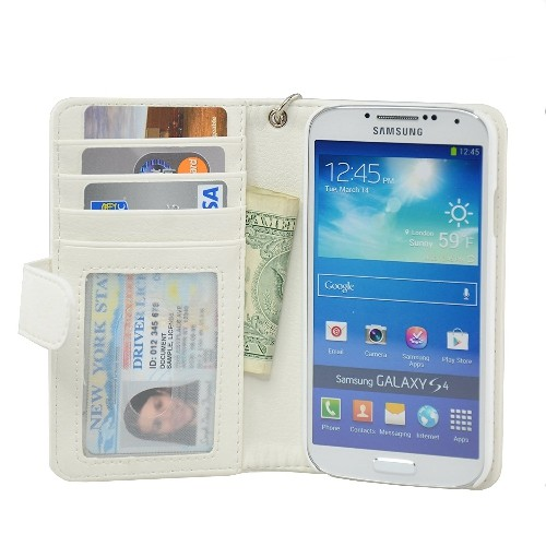 Navor Protective Flip Wallet Case for Samsung Galaxy S4 - White
