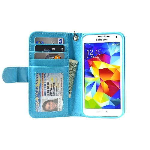 Navor Samsung Galaxy S5 / SV Book Style Folio Wallet PU Leather Case -Light Blue