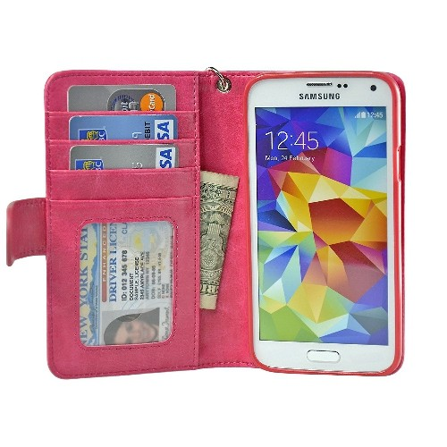 Navor Samsung Galaxy S5 / SV Book Style Folio Wallet PU Leather Case -Hot Pink