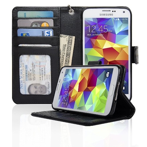 Navor Samsung Galaxy S5 / SV Book Style Folio Wallet PU Leather Case -Black