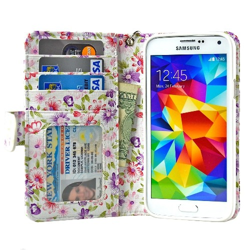 Navor Samsung Galaxy S5 / SV Book Style Folio Wallet PU Leather Case - PR Flower