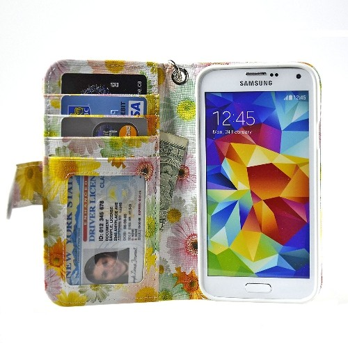 Navor Samsung Galaxy S5 / SV Book Style Folio Wallet PU Leather Case -Sun Flower