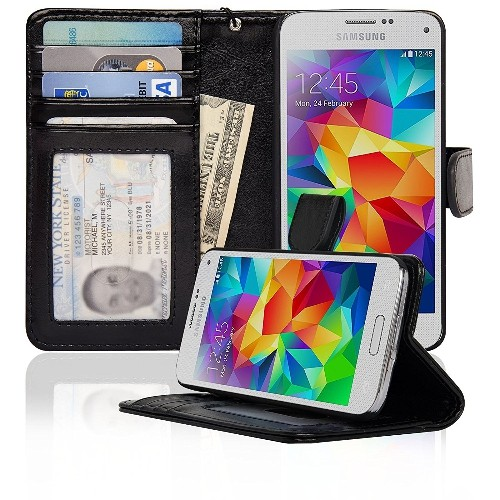 Samsung Galaxy S5 Mini Folio PU Leather Wallet Case with Money Pocket - (Black)