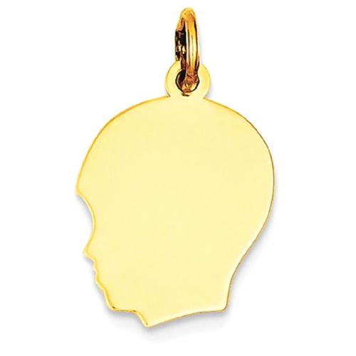 IceCarats 10k Yellow Gold Plain Medium .018 Gauge Facing Left Engravable Boy Head Pendant Charm Necklace Disc Girl