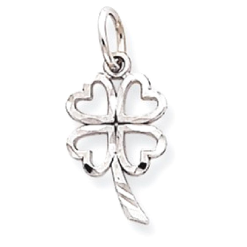 Icecarats 10k White Gold Solid 4 Leaf Clover Pendant Charm Necklace