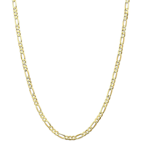 IceCarats 10k Yellow Gold 4.5mm Concave Link Figaro Necklace Chain
