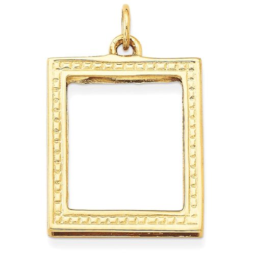 IceCarats 14k Yellow Gold Picture Frame Pendant Charm Necklace ...
