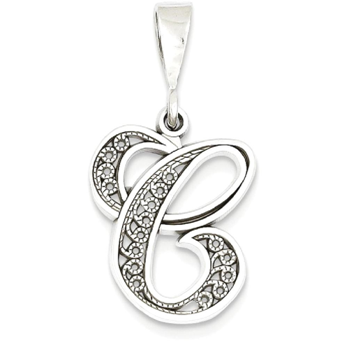 Icecarats 14k white gold solid filigree initial monogram name letter icecarats 14k white gold solid filigree initial monogram name letter c pendant charm necklace necklaces best buy canada aloadofball Choice Image