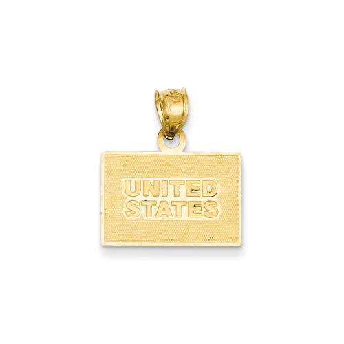 14K Enameled United States Flag Pendant New Charm Yellow Gold