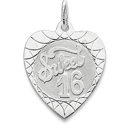 aff87d4ffa1b IceCarats 925 Sterling Silver Sweet Sixteen Girl 16 Birthday Heart Disc  Pendant Charm Necklace Special Day - Online Only