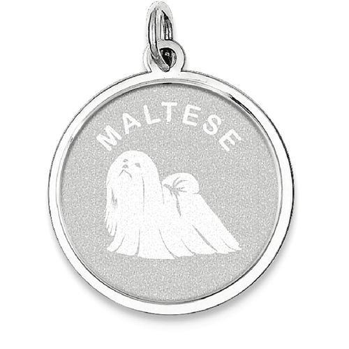 92cf51a58c03f IceCarats 925 Sterling Silver Maltese Disc Pendant Charm Necklace Animal  Dog Engravable Round   Necklaces - Best Buy Canada