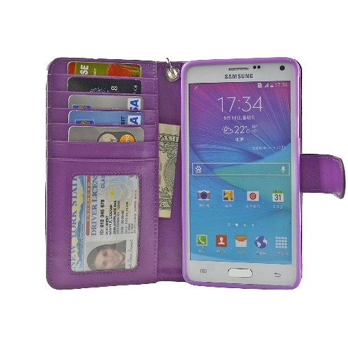 Navor Protective Flip Wallet Case for Samsung Galaxy Note 4 - (Purple)